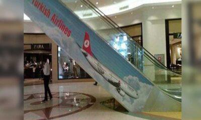 Aplicação Turkish Airlines em escada rolante