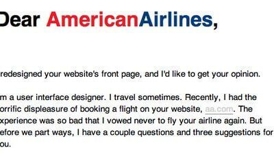 American airlines letter