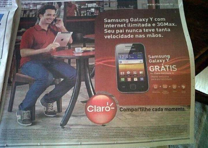 celular, samsung, claro, homem, sentado, ipad, apple