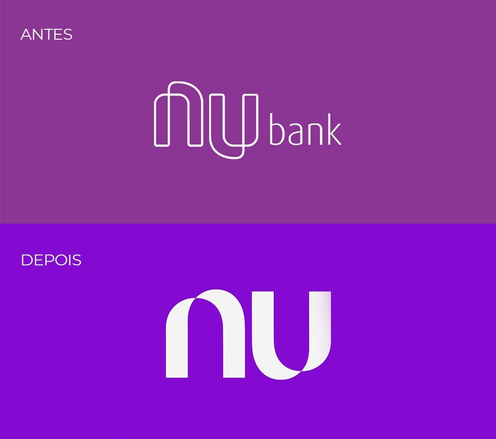 antes e depois do logotipo Nubank