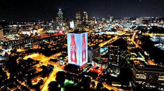 street, coca-cola, prédio, iluminação, aniversário, 125 anos