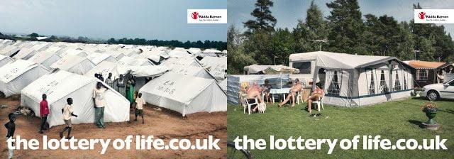 tenda, pessoas, refugiados, camping, anúncio