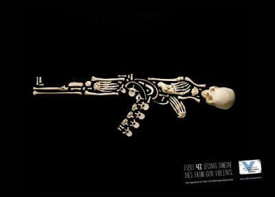 anuncio, 43 segundos, fuzil, guerra, esqueleto