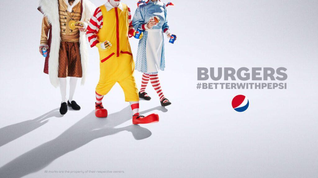 mascotes McDonalds, Burger King e Wendy's em #betterwithpepsi