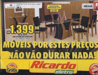 moveis, ricardo eletro, cadeiras, anúncio