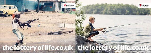 guerra, criança, anúncio, pesca, arma