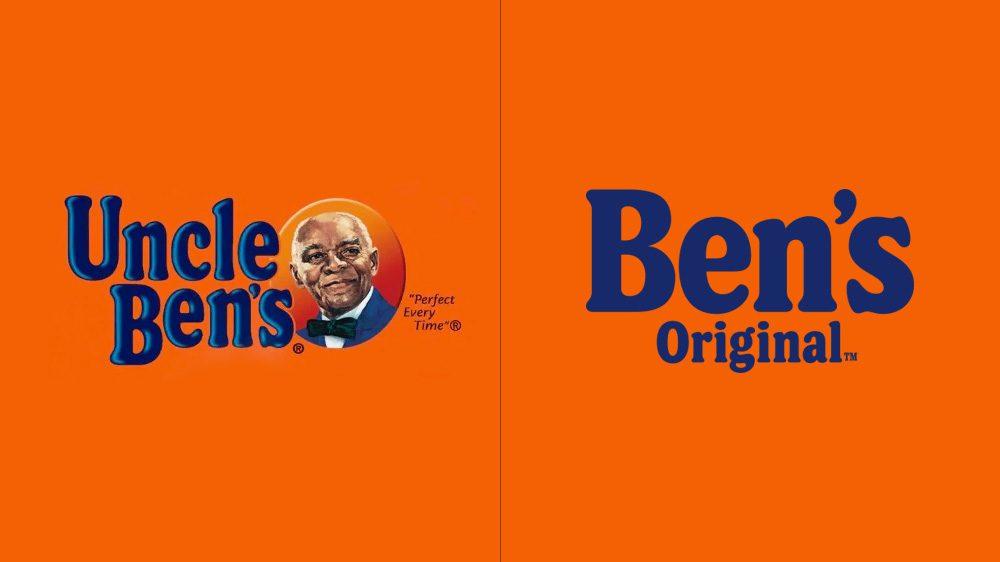 antes e depois redesign logotipo e da marca Uncle Ben's para Ben's Original