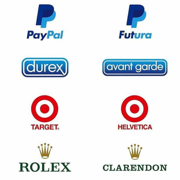 Fontes logos paypal, durex, target, rolex