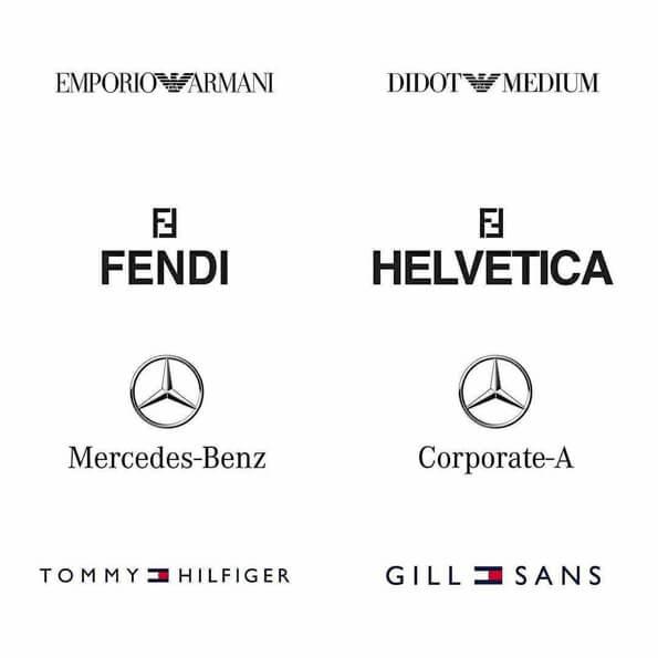 Fontes logos emporio armani, fendi, mercedes-benz, tommy hilfiger