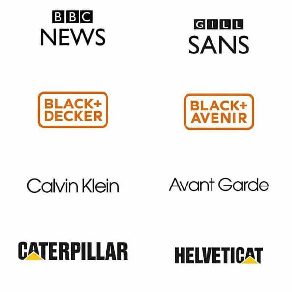 Fontes logos bbc news, black&Decker, calvin klein, caterpillar