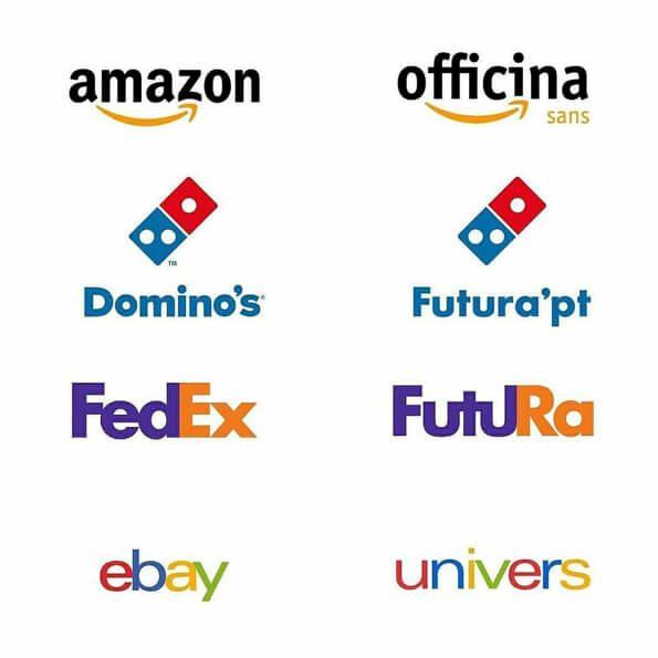Fontes logos amazon, dominos, fedex, ebay