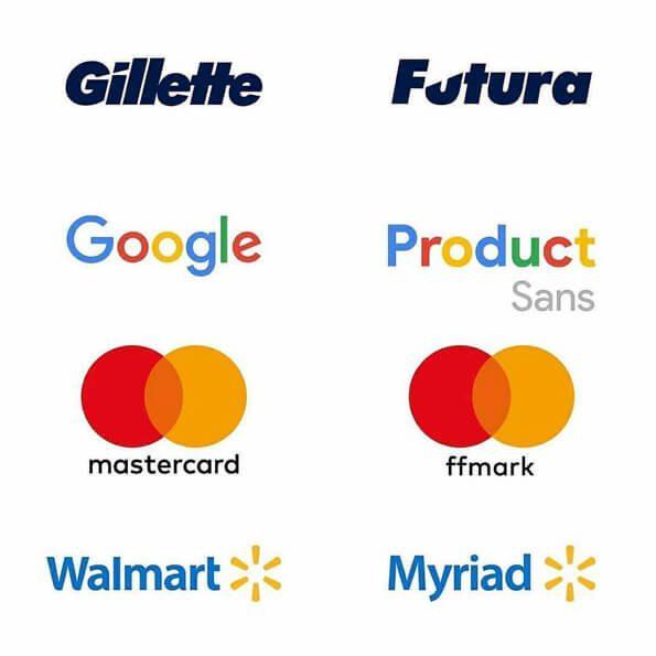 Fontes logos gilette, google, mastercard, walmart