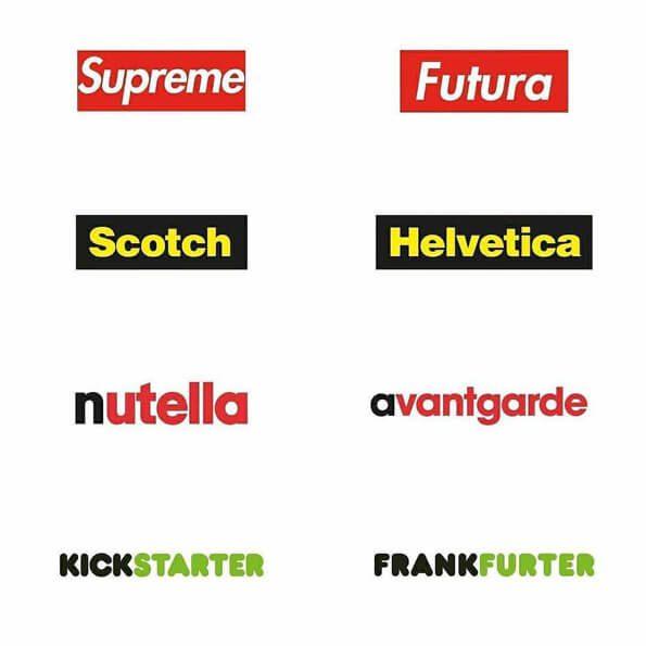 Fontes logos supreme, scotch, nutella, kickstarter