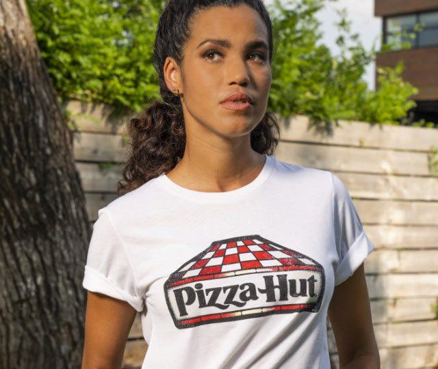 mulher, roupa, pizza hut,