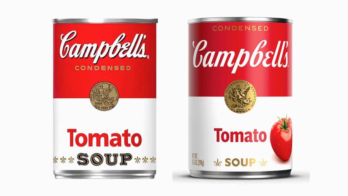 antes e depois latas de sopa Campbell's